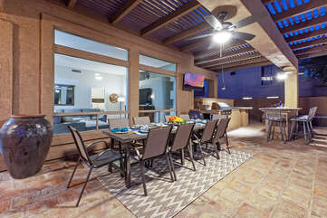 Why dine indoors when there is comfortable dining with stunning views in the backyard!