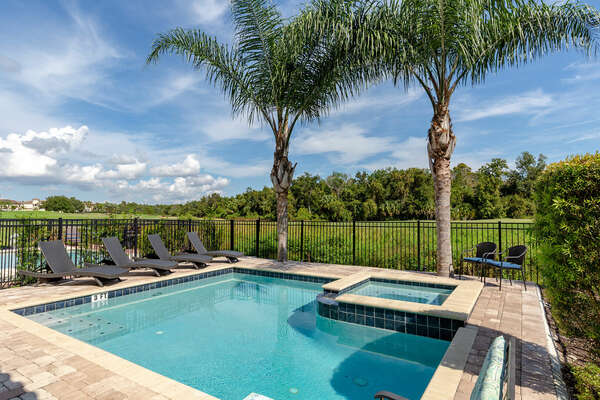 Take in the beautiful views floating in the pool or lying on a lounge chair