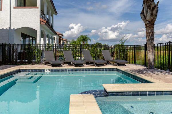 Soak up Florida sun rays on the many sun loungers.