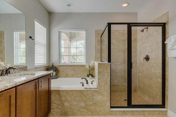 Soak in the garden tub or unwind in the walk-in shower