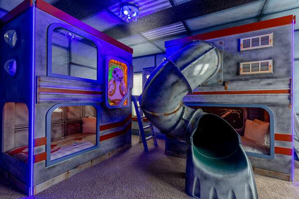 Travel to galaxies far far away in this galactic bedroom!