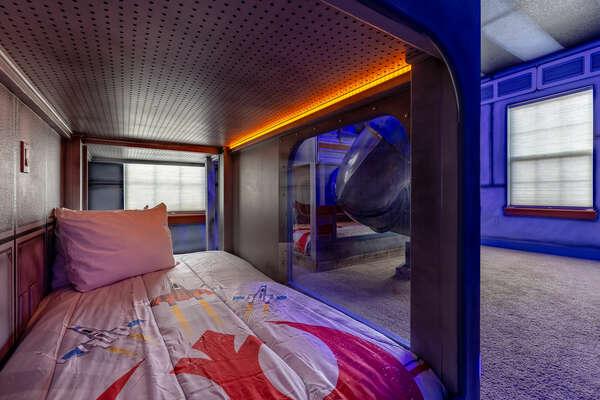 LED lights light up the beds
