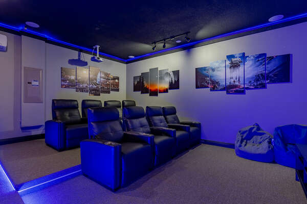 There's fun for everyone in the movie room/game room!