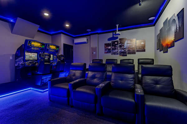 Never lack entertainment in the galactic custom home theater/game room!