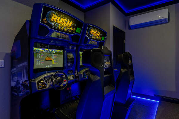 Challenge a family member to a race on the racing arcade machine