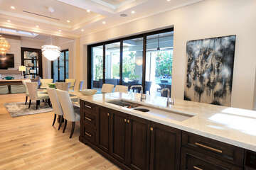 Kitchen, Dining, Great room.