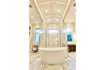 Master tub and shower behind.