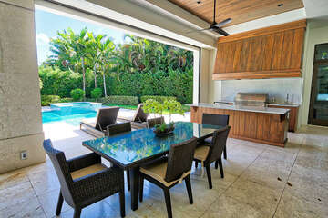 Outdoor dining and summer kitchen.