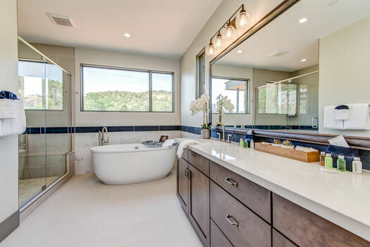 Master Bath with a Soaking Tub and Plenty of Natural Light and Views