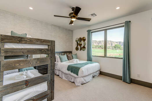 Bedroom 3 with a Queen Bed, Twin over Twin Bunk Beds and Great Views