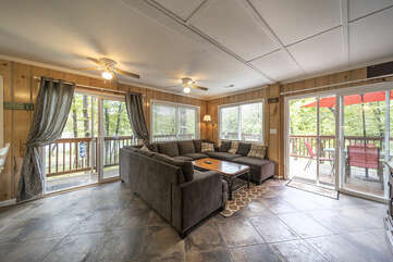 Comfortable seating overlooking the Lake and TV area