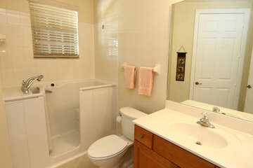 Guest Bathroom handicap accessible walk in tub / shower with seat