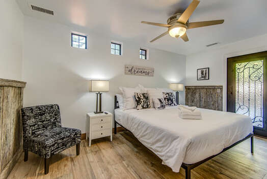Master Bedroom with a King Bed and Access to the Saloon