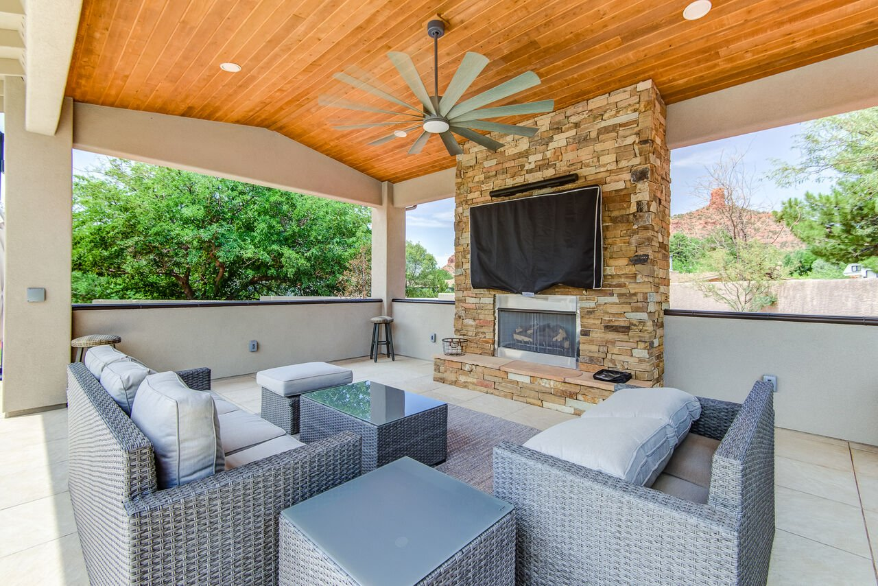 Outdoor Lounge with a Smart TV (Gas Fireplace Soon to Be Operational)