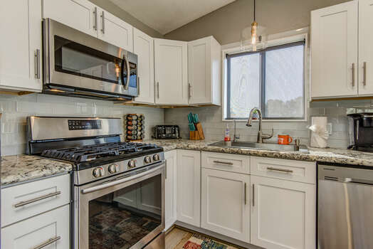 Stainless Steel Appliances Including a Gas Range