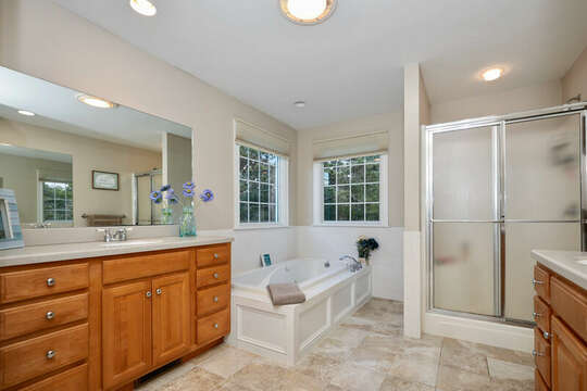 Bathroom ensuite to Master Bedroom - separate tub and glass enclosed shower - 1 Somerset Road Harwich Cape Cod - New England Vacation Rentals