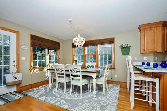 Dining room with seating for six and break bar with more seating - 1 Somerset Road Harwich Cape Cod - New England Vacation Rentals