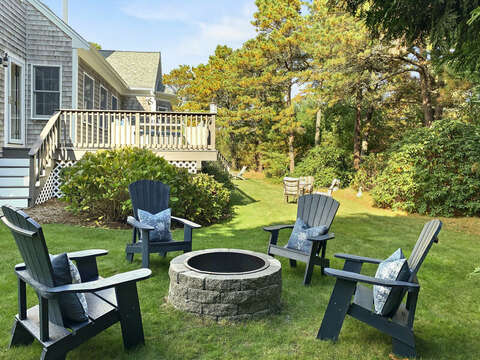 Fire pit and four adirondack chairs to make great memories - 1 Somerset Road Harwich Cape Cod - New England Vacation Rentals
