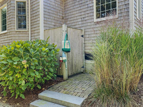 Outdoor shower - a Cape Cod tradition - 1 Somerset Road Harwich Cape Cod - New England Vacation Rentals