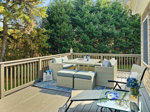 Deck with lounging furniture - 1 Somerset Road Harwich Cape Cod - New England Vacation Rentals