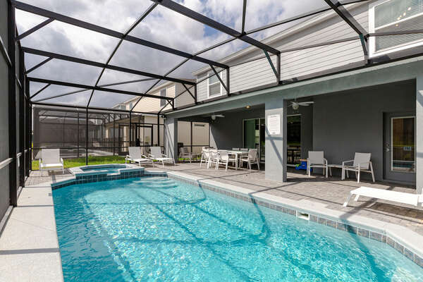 Take in the Florida sun at your private modern pool deck