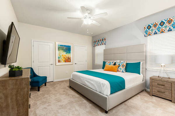 Enjoy a great night's rest after a long day at the parks in the master bedroom