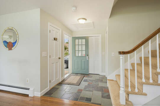 Front entrance with slate entryway - 35 Vacation Lane Harwich Cape Cod - New England Vacation Rentals