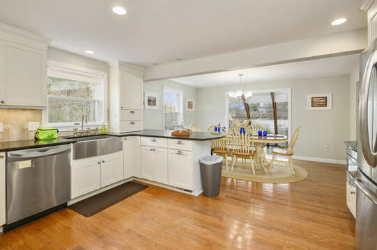 Open kitchen with stainless steel appliances - 35 Vacation Lane Harwich Cape Cod - New England Vacation Rentals