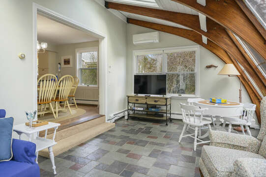 TV for movies in the sunroom - 35 Vacation Lane Harwich Cape Cod - New England Vacation Rentals