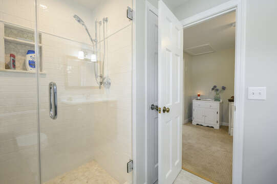 Glass enclosed shower in Bathroom #4 - 35 Vacation Lane Harwich Cape Cod - New England Vacation Rentals
