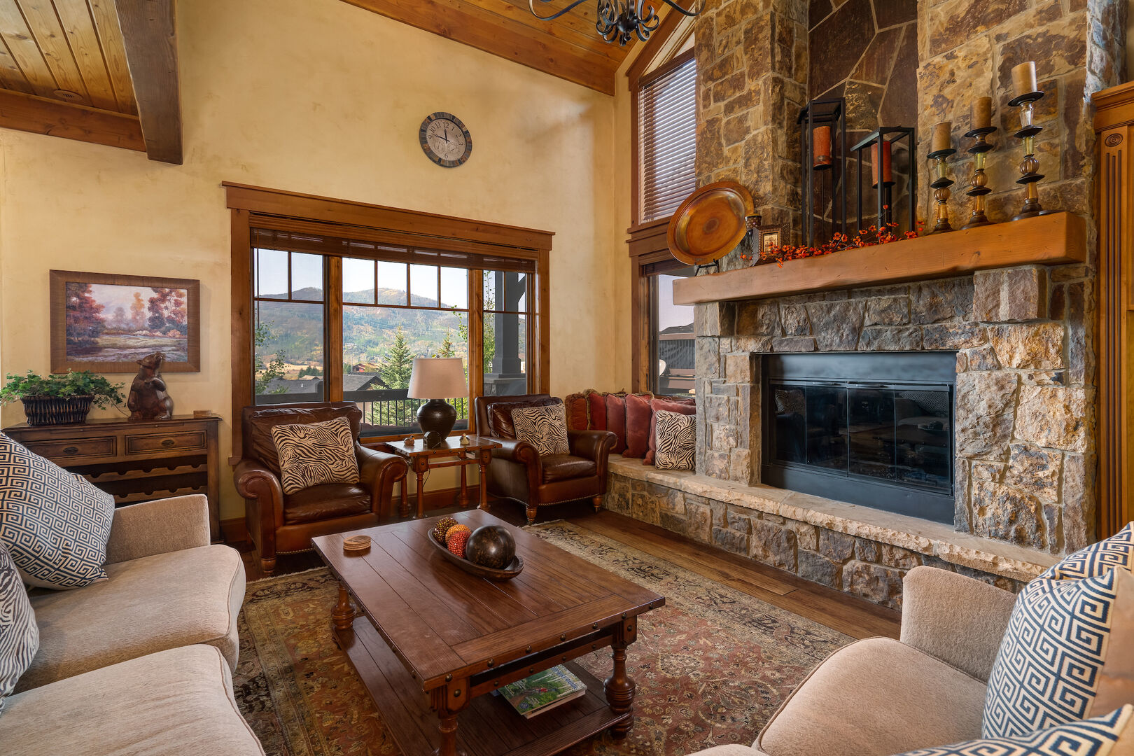 Beautiful 2 story living space with gas fireplace.