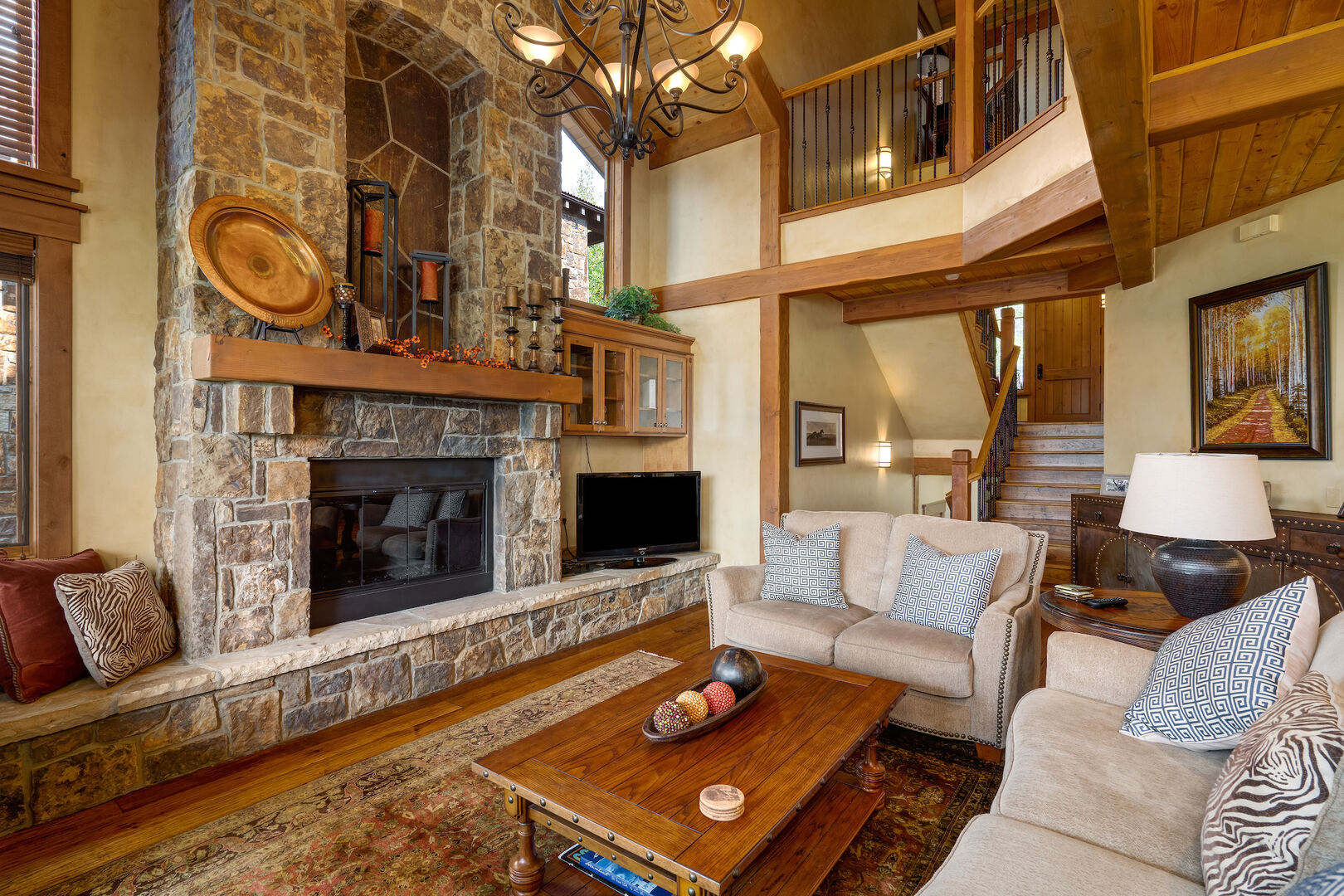 Enjoy cozy nights by the fireplace