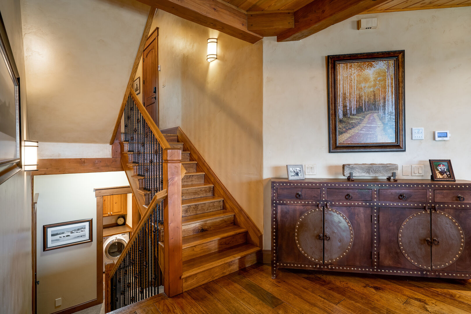Stairs up and down to the bedroom options