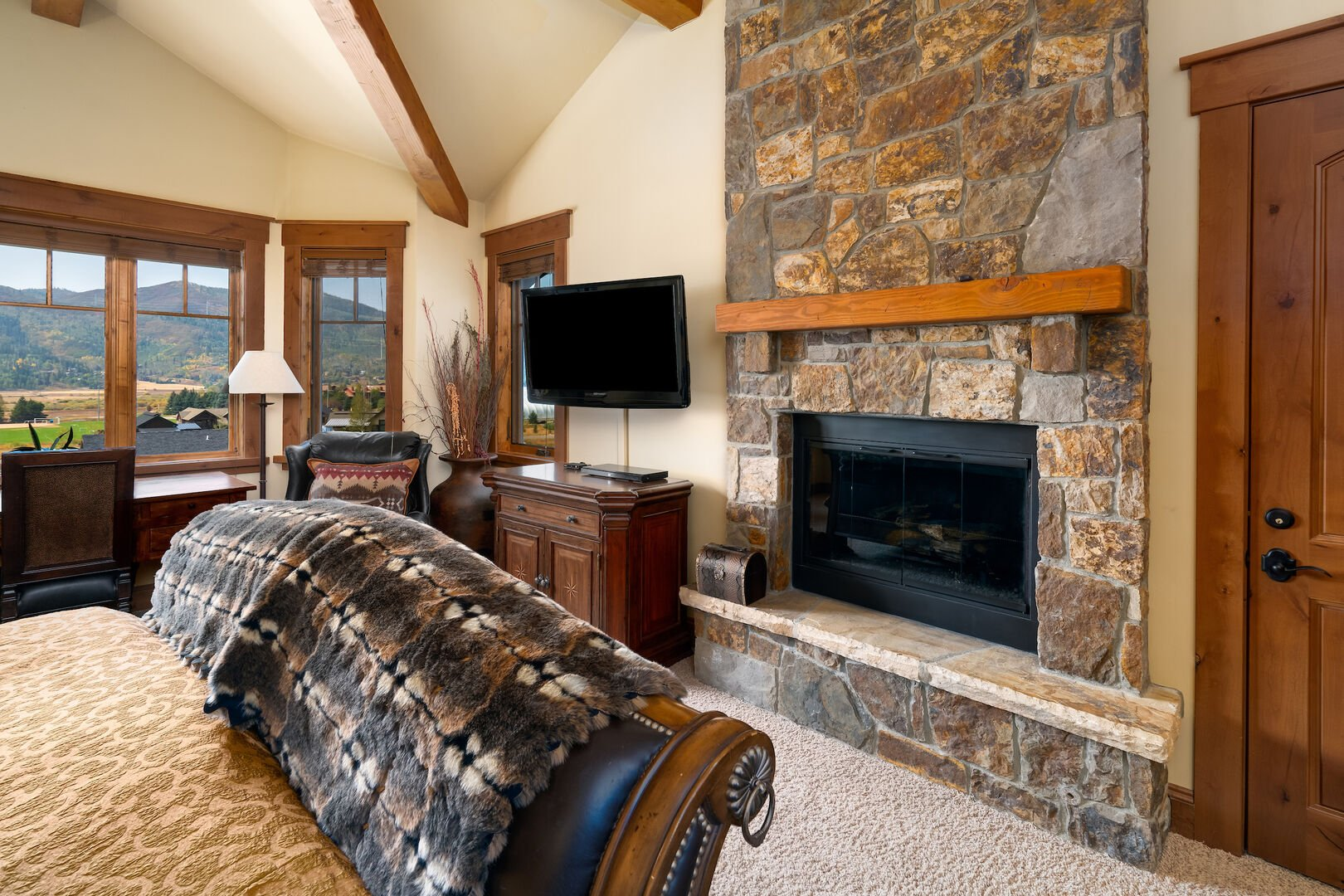 Master bedroom gas fireplace and TV