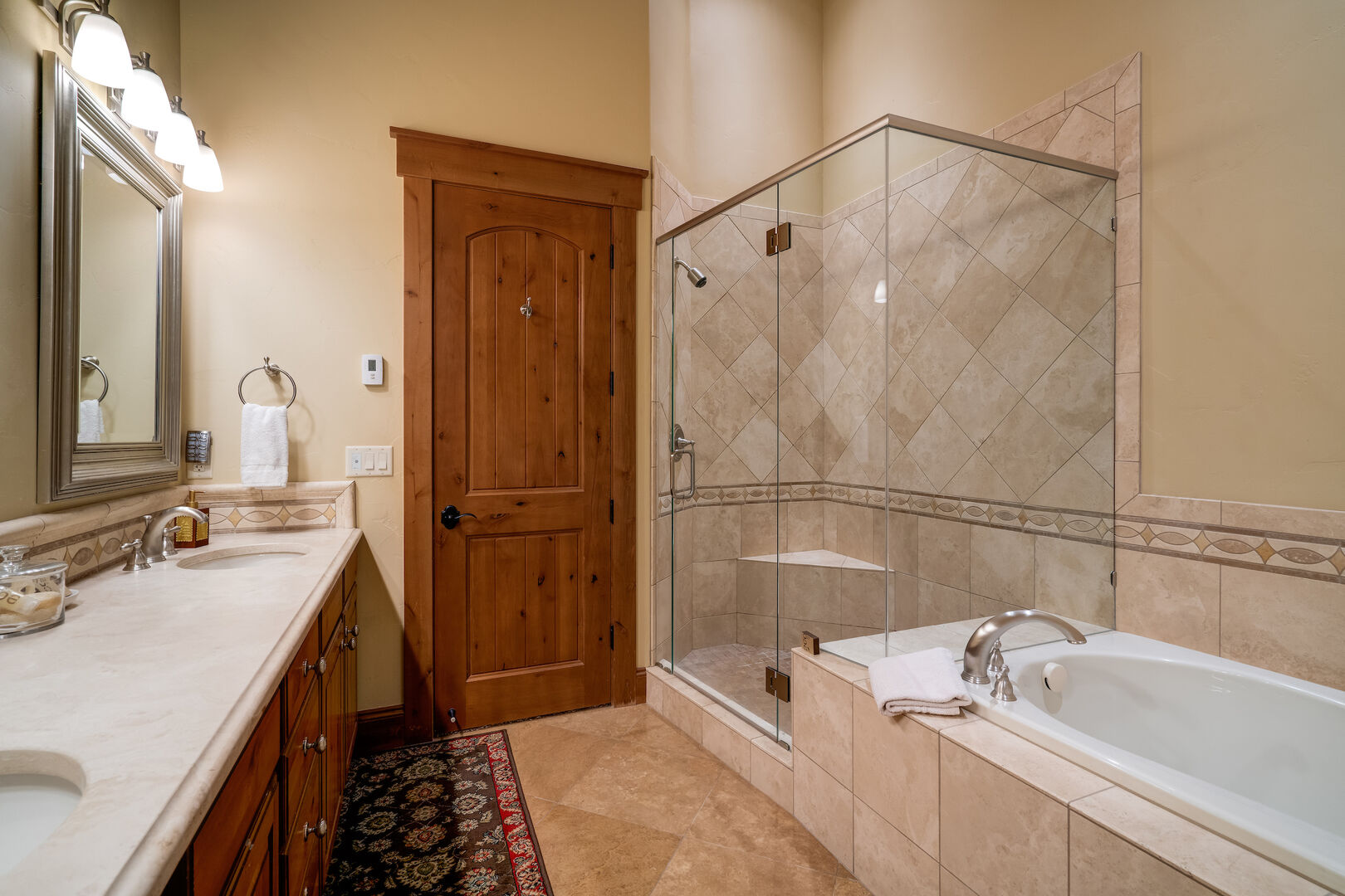 Soaking tub and large shower in the master bath