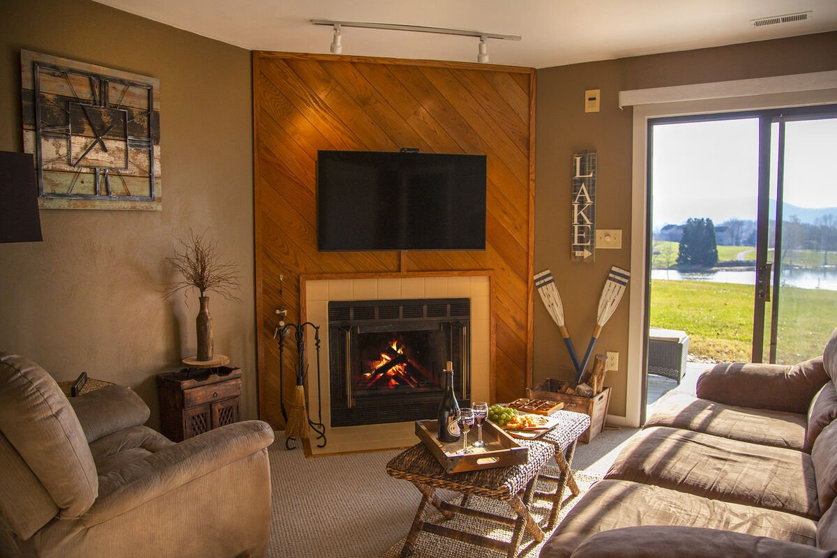 Relax Each Night By the Fire, while enjoying the Lake Views