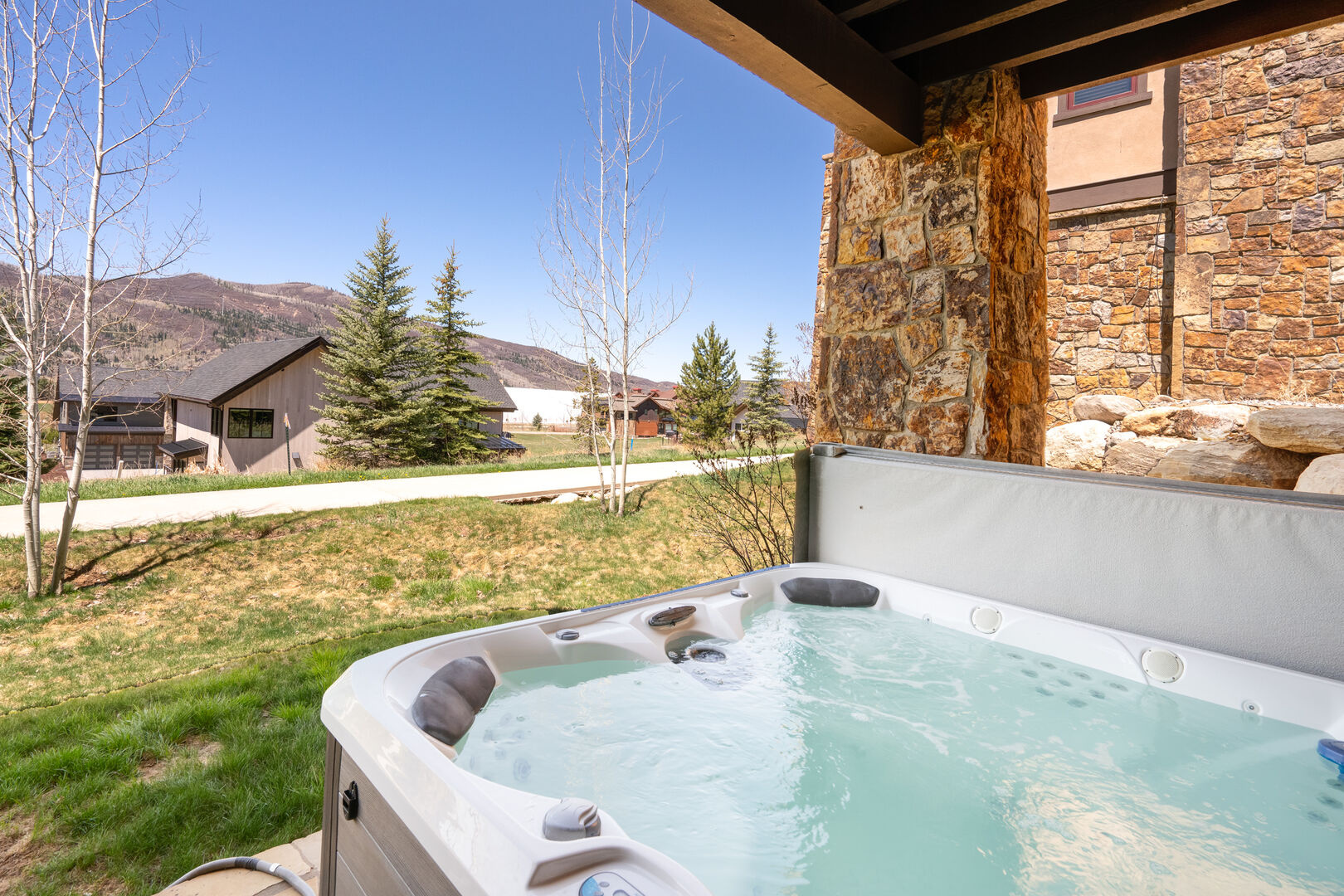 Views of Emerald Mountain from the hot tub.