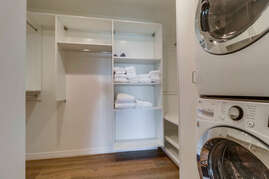 There is a large walk in closet and washer and dryer for your convenience.