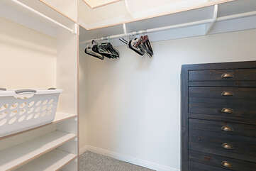 The large walk in master bedroom closet offers plenty of space.