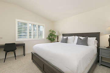 The third bedroom features a king bed as well and views of the main street to the West.