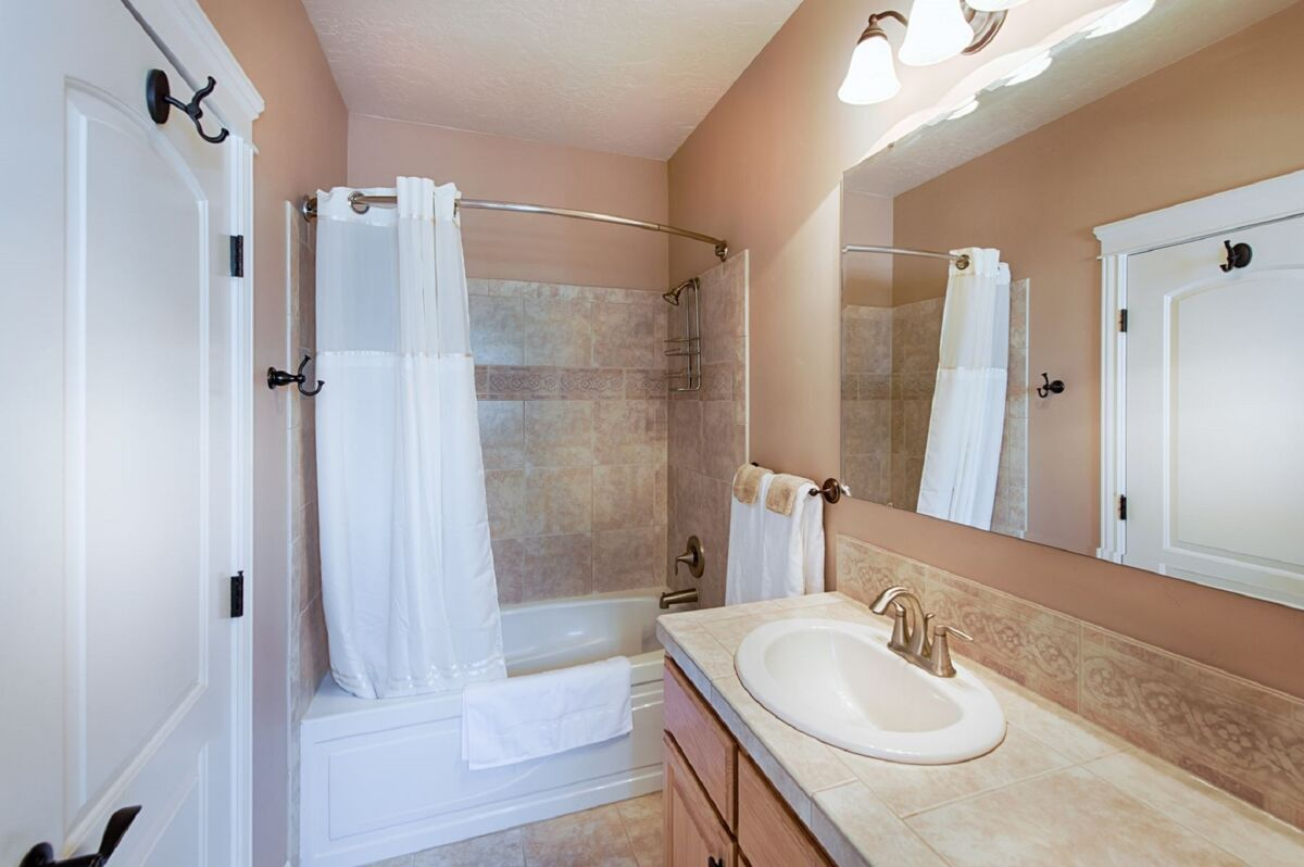 Attached, master bathroom.