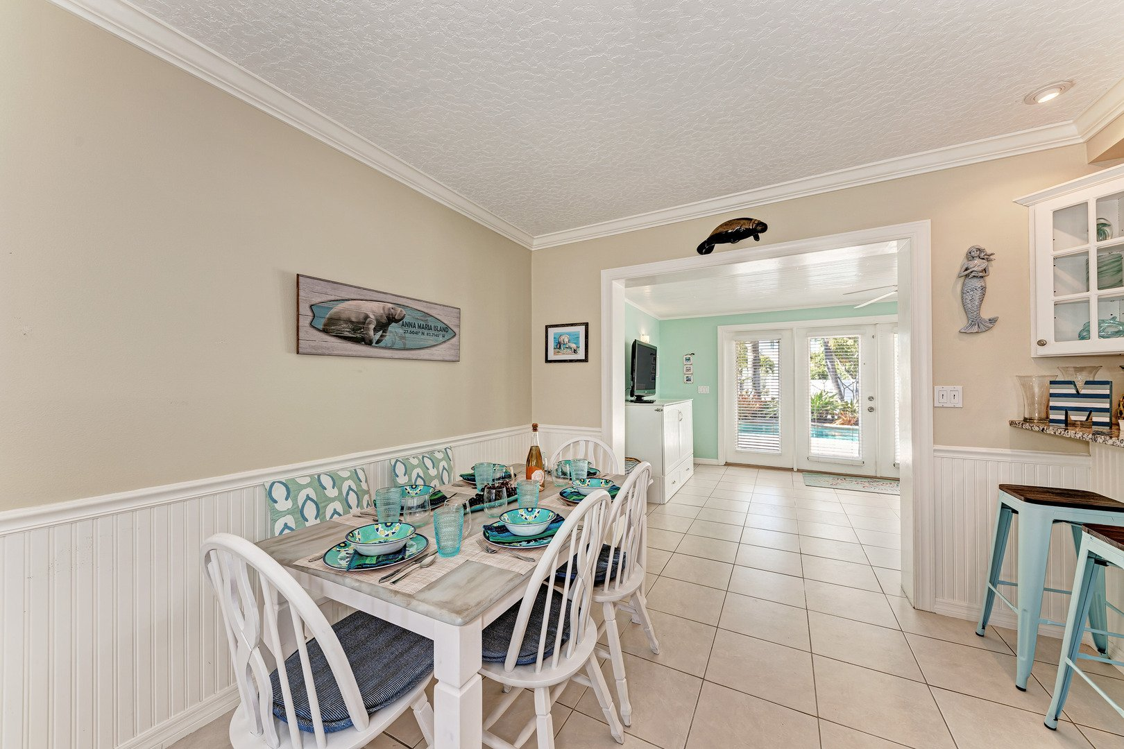 Mermaids & Manatees dining room off the kitchen