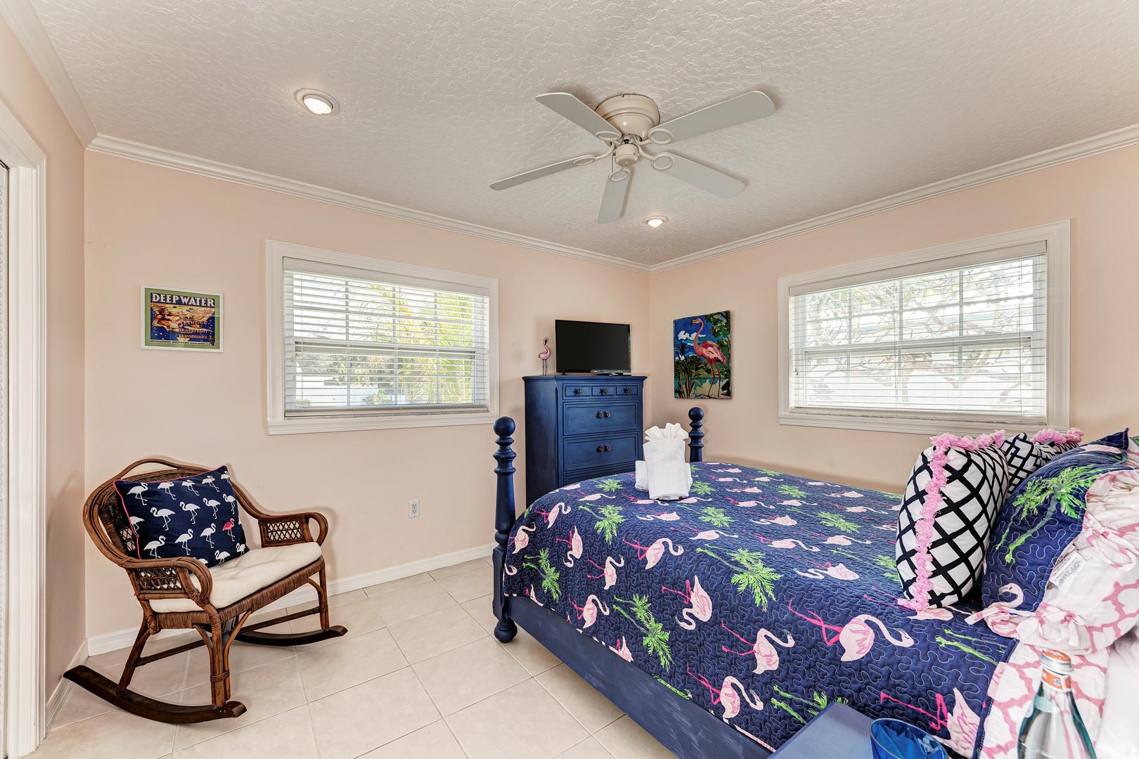 Mermaids & Manatees guest bedroom view from doorway