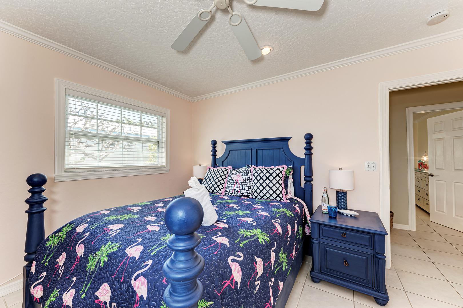 Mermaids & Manatees guest bedroom view to doorway