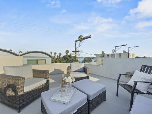 Roof Deck - Outdoor Living Room and Bay Views