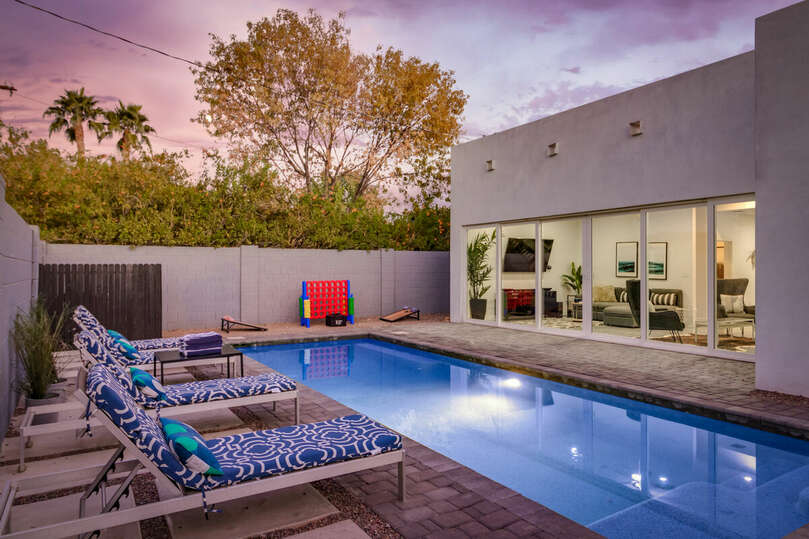Enjoy Arizona nights around this beautiful pool with large sliding window for indoor/outdoor living.