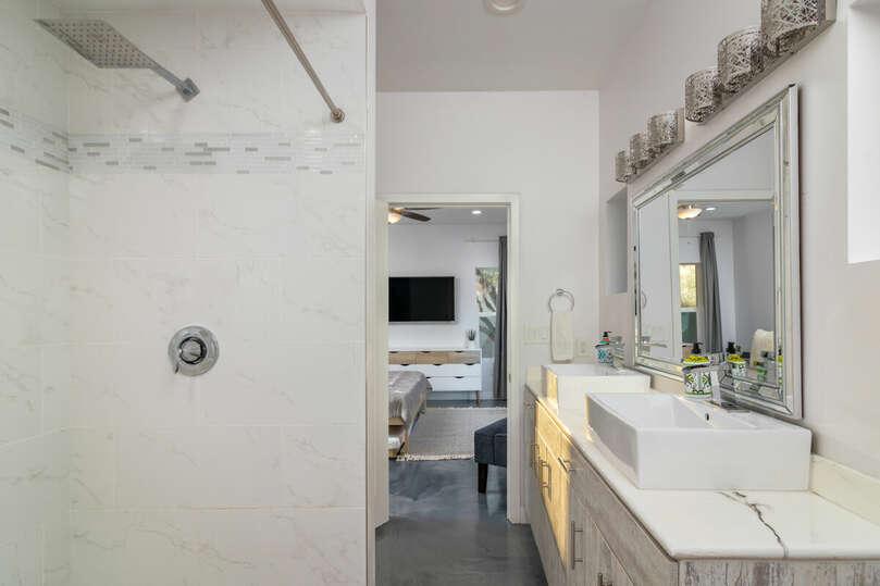 Dual vanities and shower.