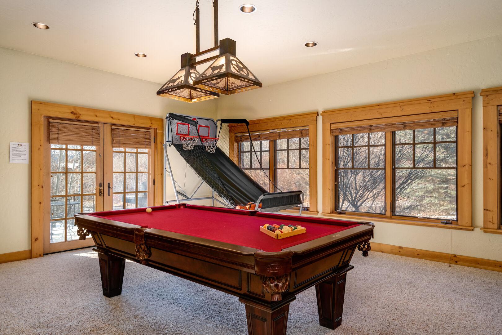 Pool table and basketball hoops!