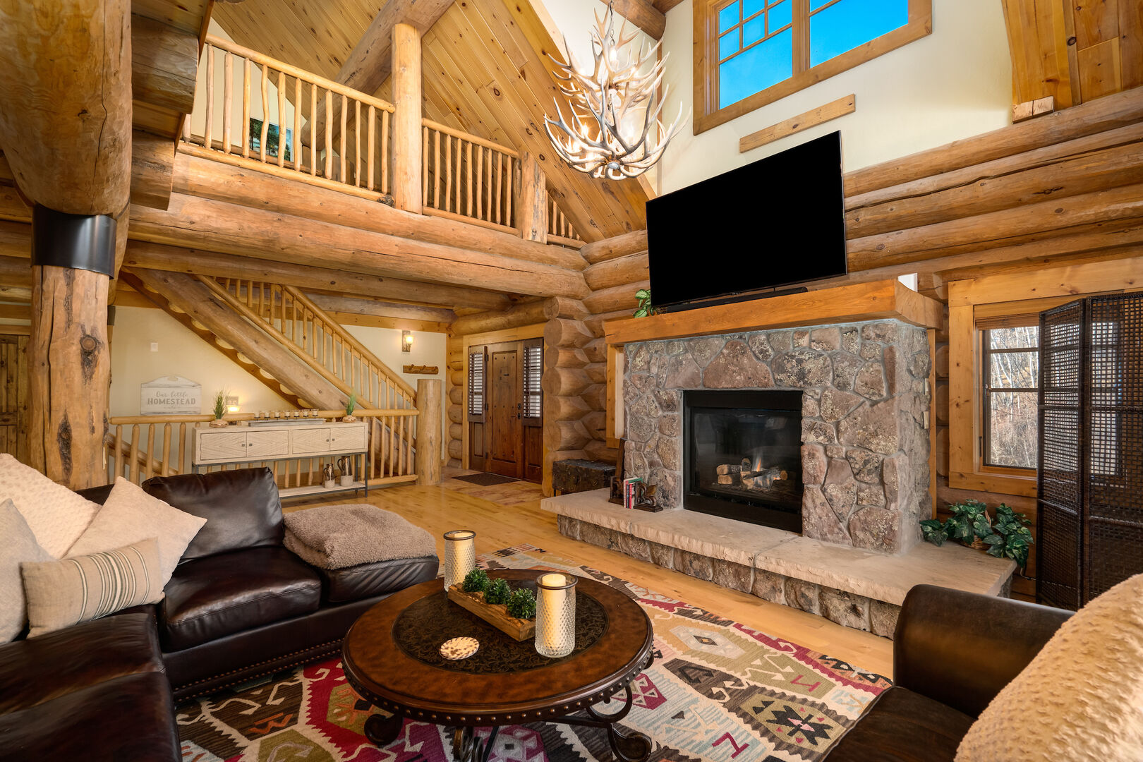 Gas fireplace, large TV above
