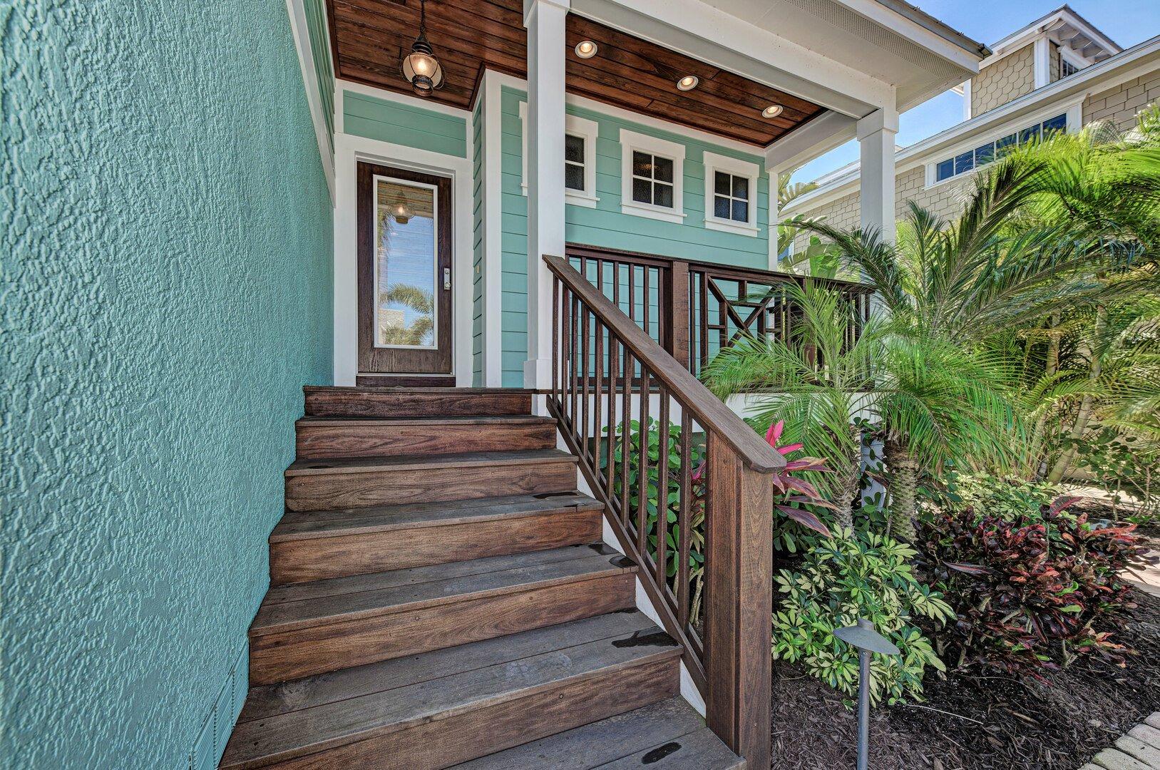 Blue Palm Paradise front entry & porch